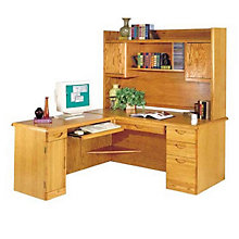 Waterfall Computer L-Desk with Left Return and Hutch, OFG-LD1006