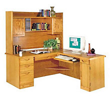Waterfall Computer L-Desk with Right Return and Hutch, OFG-LD1007