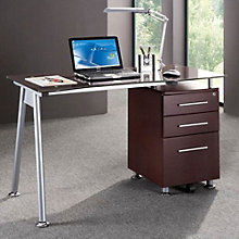 Techni Mobili Glass Computer Desk with File Cabinet, RTP-10213