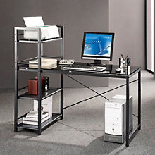 Techni Mobili Gray Glass Computer Desk with Shelving, RTP-10216