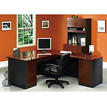 Via Bow Front L-Desk and Lateral File with Hutch Set, OFG-EX1103