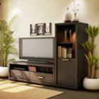 Skyline Chocolate TV Stand with Audio Cabinet, OFG-EF0038