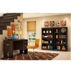 Chocolate Finish Compact Desk and Bookcase Set, OFG-DS0018