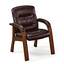 Faux Leather and Wood Frame Guest Chair, TRU-10588