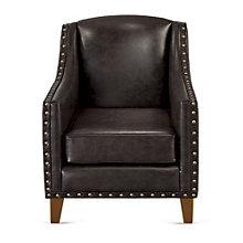 Nail Head Trim Club Chair in Faux Leather, 8802557