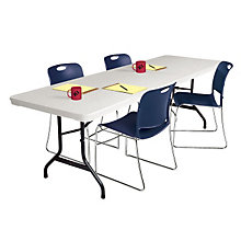 "Lightweight Plastic Folding Table - 96"" x 30"", KRU-VL3096"