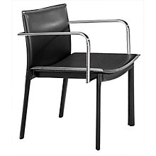 Black Guest Chair with Chrome Armrests, ZUO-404141