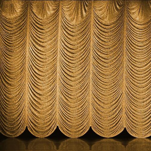 Frazzle Metallic Austrian FR Curtain Rental from Rose Brand