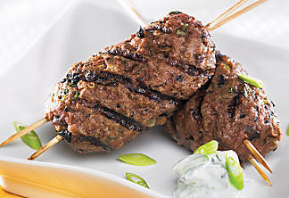 Beef and mushroom skewers