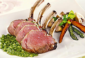 Rack of Quebec lamb with chimichurri sauce