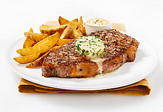 Grilled entrecôte with herbed butter
