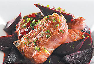 Braised lamb shoulder with red-wine sauce and beets