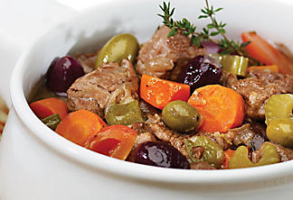 Lamb stew with olives