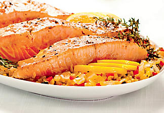 Salmon fillets with mixed vegetables