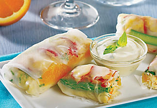 Lobster spring rolls with orange