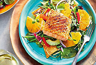 California salad with salmon