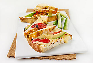 Grilled chicken, avocado and grilled red pepper tartine