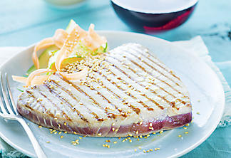 Babrbecued sesame tuna steak