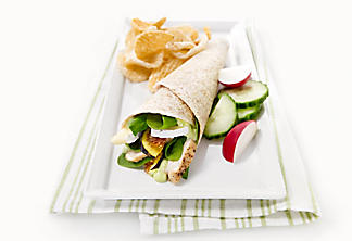 Chicken, fig, spinach and brie wrap