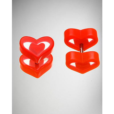 red-clear-heart-fake-plug-set