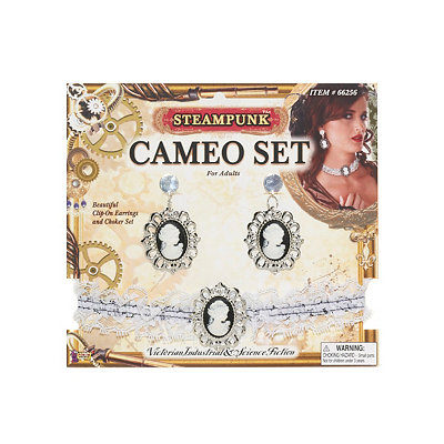 Steampunk Cameo Earring  Choker Set $7.99 AT vintagedancer.com