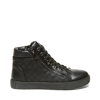 Steve Madden Black Quilted Leather Sneaker