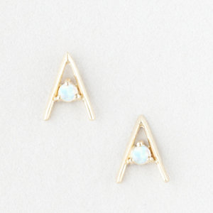 TRIANGLE EARRINGS WITH SMALL OPALS