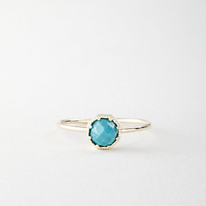 TURQUOISE CROWN BEZEL RING