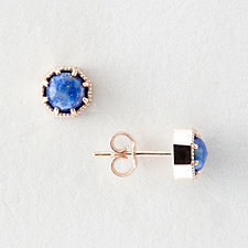 LAPIS CROWN BEZEL EARRINGS
