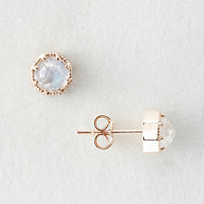 MOONSTONE CROWN BEZEL EARRINGS