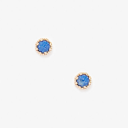 PETITE LAPIS CROWN BEZEL EARRINGS