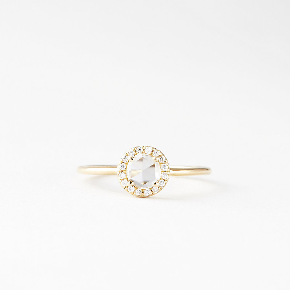 ROSECUT PAVE DIAMOND SOLITAIRE - YELLOW GOLD