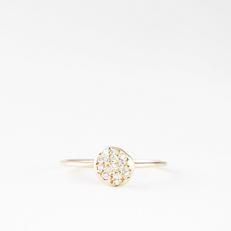 FLAT SEED PAVE DIAMOND RING