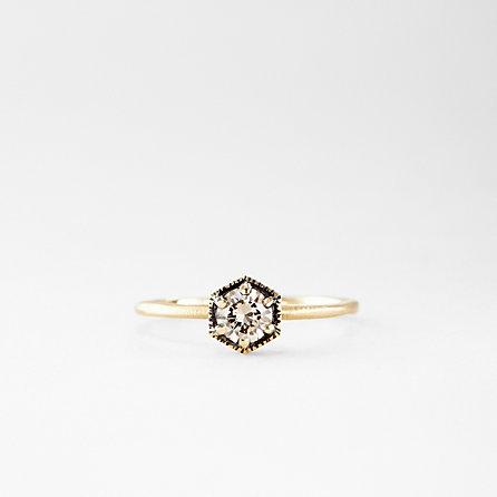 HEXAGON BROWN DIAMOND RING