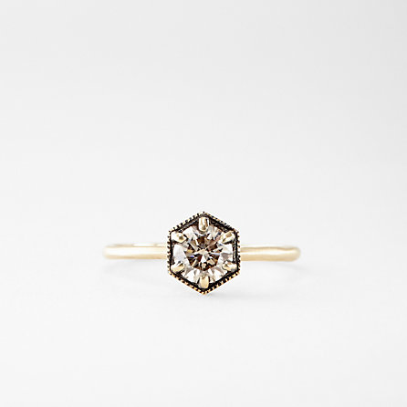 HEXAGON BROWN DIAMOND RING