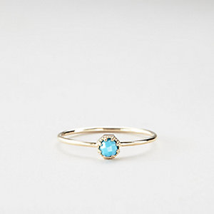 PETITE TURQUOISE CROWN BEZEL RING