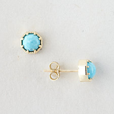 TURQUOISE CROWN BEZEL EARRINGS
