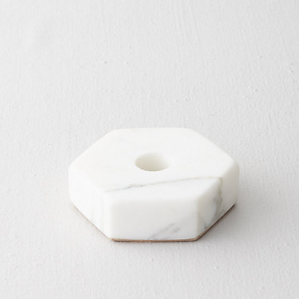 MARBLE HEXAGON CANDLE HOLDER