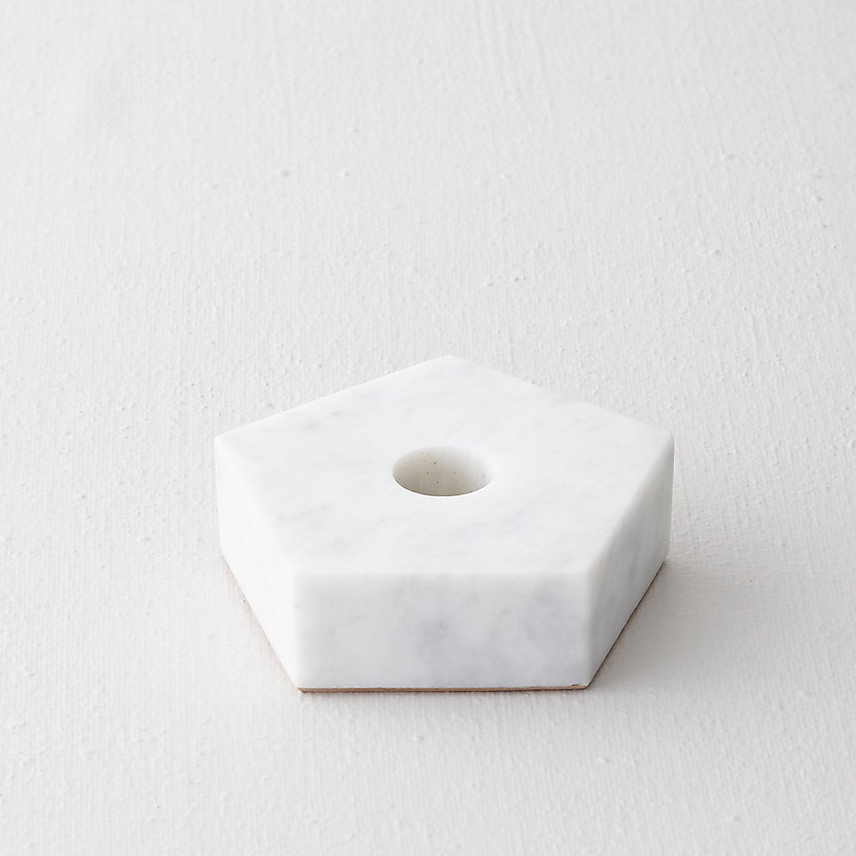 MARBLE PENTAGON CANDLE HOLDER