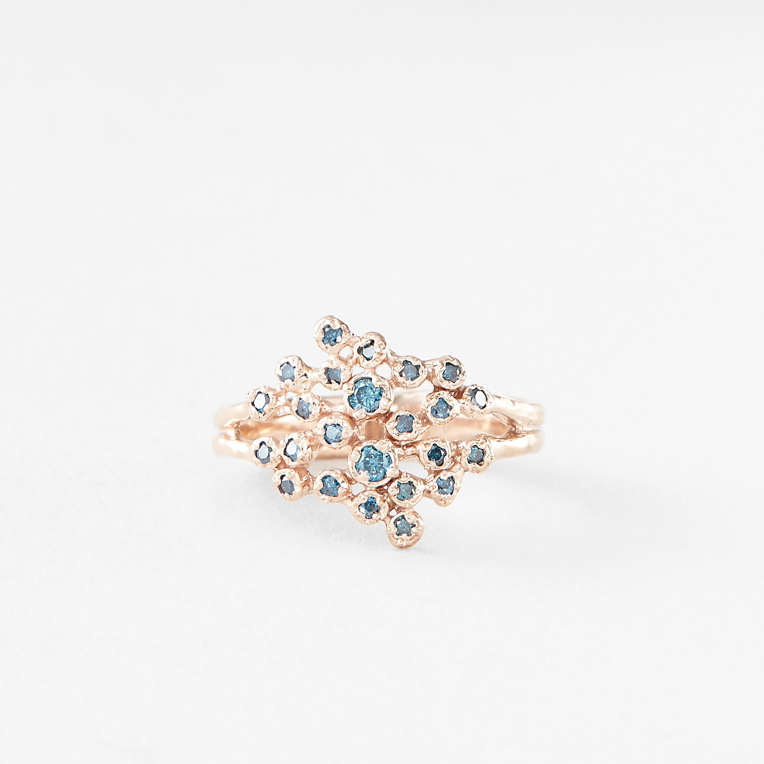 24 BLUE DIAMOND CLUSTER RING