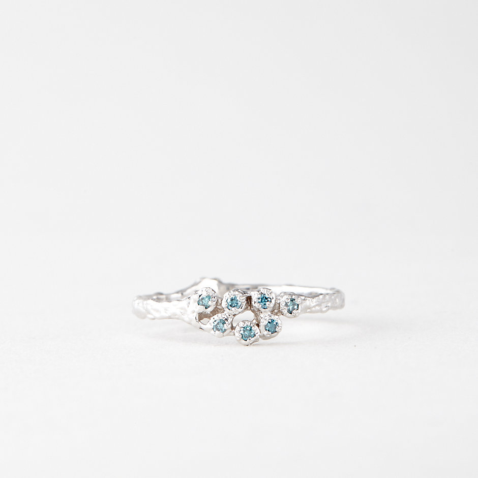 7 BLUE DIAMOND CLUSTER RING