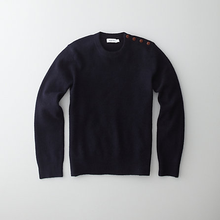 BUTTON SHOULDER CREWNECK SWEATER