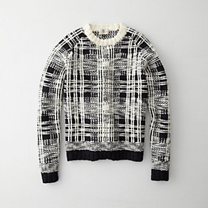 MERINO CREWNECK PLAID SWEATER