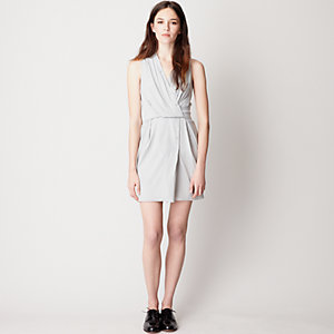 BUTTON DETAIL DRAPED DRESS