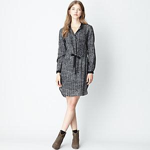 Long Sleeve Pintuck Dress