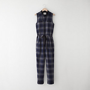 Sleeveless Plaid Jumpsuit