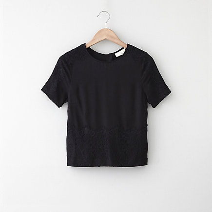 Cropped Tee w/ Lace Applique
