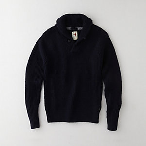MERCERIZED SHAWL NECK PULLOVER
