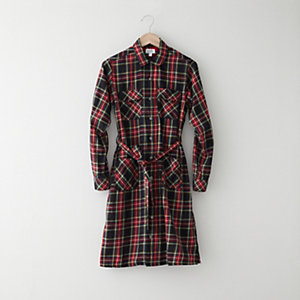 Belted Plaid Shirtdress