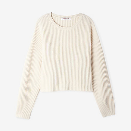 CROPPED RIBBED PULLOVER